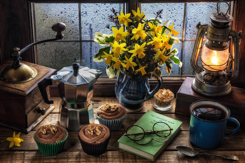 еда, натюрморт, цветы, вкусно, чай, крем, кекс, нарциссы